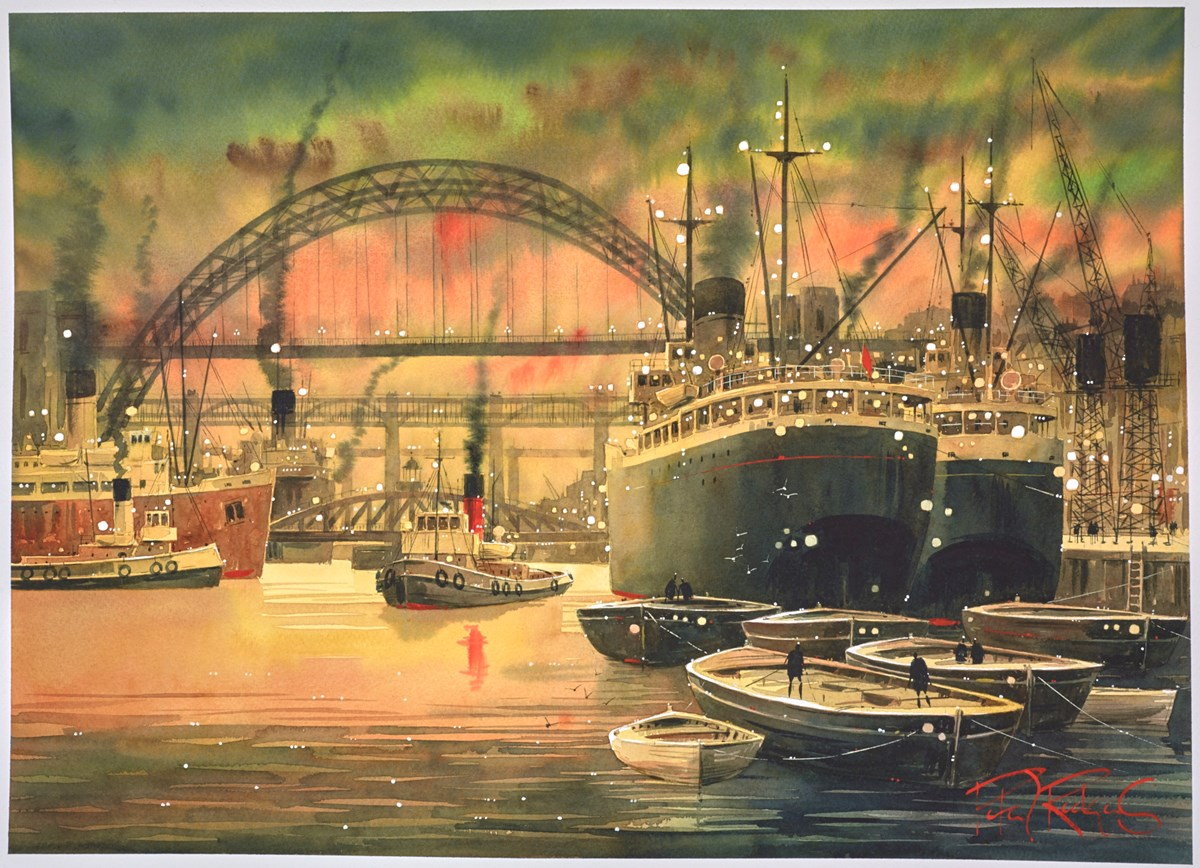 When the Tyne was Busy - Newcastle Upon Tyne by peter j rodgers -  sized 28x21 inches. Available from Whitewall Galleries